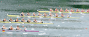 Lucerne, SWITZERLAND. GBR M8+  Start of the Men's eights heat, top to bottom POL M8+, GBR M8+, .AUS M8+ , GER M8+, move away from the start ,at the 2008 FISA World Cup Regatta, Round 2.  Lake Rotsee, on Thursday,  30/05/2008.  [Mandatory Credit:  Peter Spurrier/Intersport Images].Lucerne International Regatta. Rowing Course, Lake Rottsee, Lucerne, SWITZERLAND.