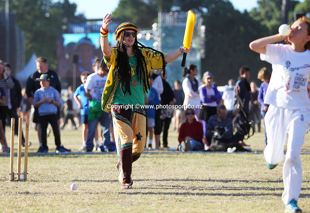 Entertainers at the ICC Cricket World Cup Opening Ceremony venue staged in Hagley Park, Christchurch. 12 February 2015 Photo: Joseph Johnson / www.photosport.co.nz
