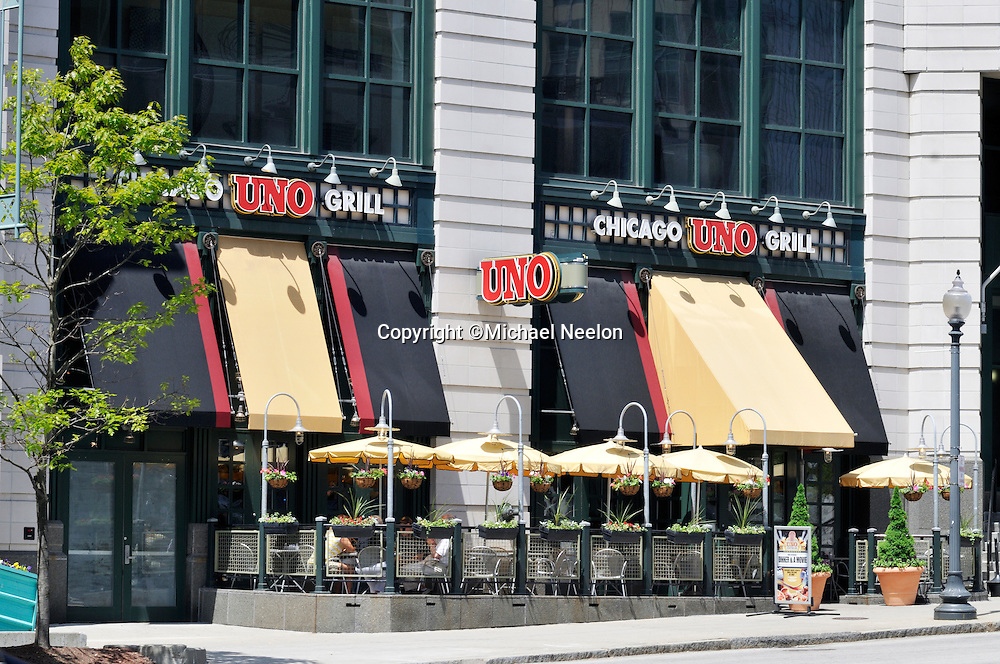 Uno Chicago Grill restaurant with outdoor dining in downtown Providence Rhode Island at Providence Place Mall