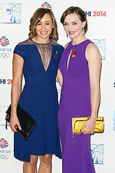 Victoria Pendleton; Jessica Ennis-Hill , British Olympic Ball, Dorchester (Opal Room), London UK, 30 October 2013, Photo by Raimondas Kazenas © Licensed to London News Pictures. Photo credit : Raimondas Kazenas/Piqtured/LNP