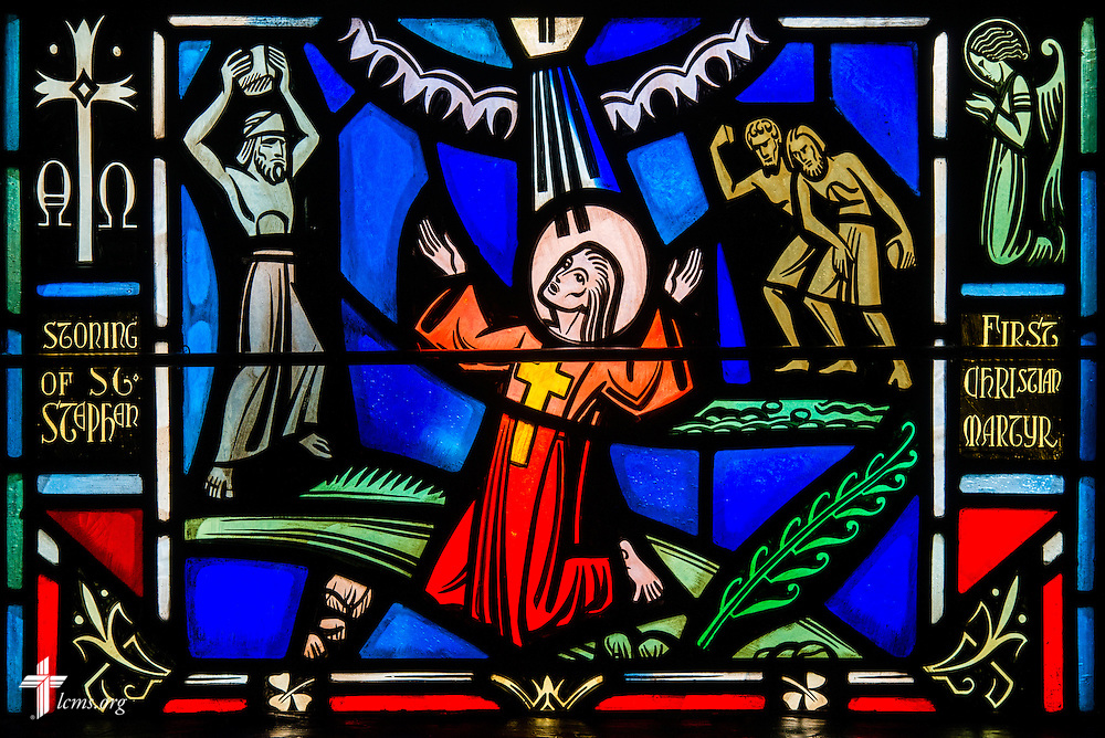 Stained glass depicting the stoning of St. Stephen at Luther Memorial Chapel on Friday, Jan. 29, 2016, in Shorewood, Wis. LCMS Communications/Erik M. Lunsford