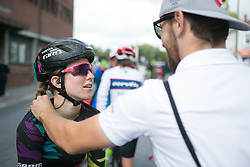 Alexis Ryan (USA) of CANYON//SRAM Racing gets a quick massage from soigneur Lars Schiffner after a long Stage 3 of the Ladies Tour of Norway - a 156.6 km road race, between Svinesund (SE) and Halden on August 20, 2017, in Ostfold, Norway. (Photo by Balint Hamvas/Velofocus.com)