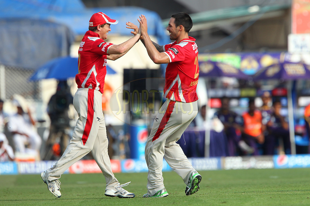 Mitchell Johnson of the Kings X1 Punjab celebrates the wicket of Gautam Gambhir captain of the Kolkata Knight Riders with George Bailey of the Kings X1 Punjab during the first qualifier match (QF1) of the Pepsi Indian Premier League Season 2014 between the Kings XI Punjab and the Kolkata Knight Riders held at the Eden Gardens Cricket Stadium, Kolkata, India on the 28th May  2014<br /> <br /> Photo by Ron Gaunt / IPL / SPORTZPICS<br /> <br /> <br /> <br /> Image use subject to terms and conditions which can be found here:  http://sportzpics.photoshelter.com/gallery/Pepsi-IPL-Image-terms-and-conditions/G00004VW1IVJ.gB0/C0000TScjhBM6ikg