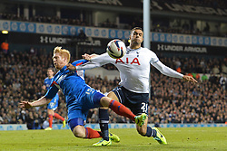 Hull's Paul McShane and Tottenham's Nacer Chadli compete for the ball - Photo mandatory by-line: Mitchell Gunn/JMP - Tel: Mobile: 07966 386802 30/10/2013 - SPORT - FOOTBALL - White Hart Lane - London - Tottenham Hotspur v Hull City - Capital One Cup - Forth Round