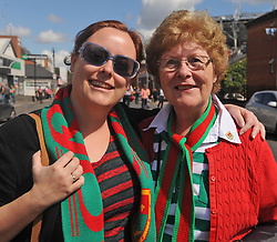 Mayo supporters Nicola Baxter with mum Carmel Casey-Baxter (sister of the late Wille Casey) from Ballinaon their way to the Croke park for the All Ireland quarter final replay<br /> Pic Conor McKeown