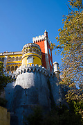 The Pena Palace, Romanticist castle in Sao Pedro de Panaferrim with crenellations in municipality of Sintra, Portugal