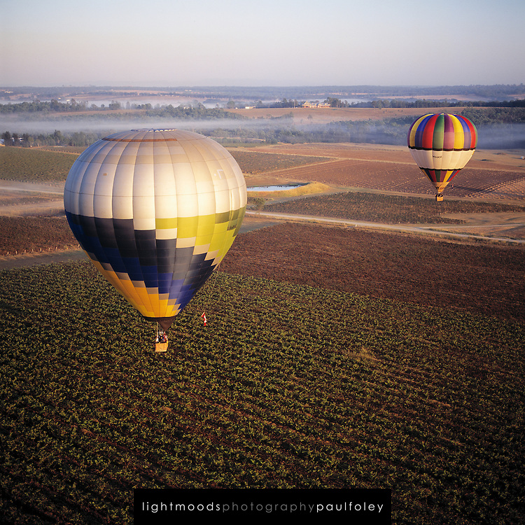 Hot Air Ballooning over Hunter Valley Vineyards, Australia