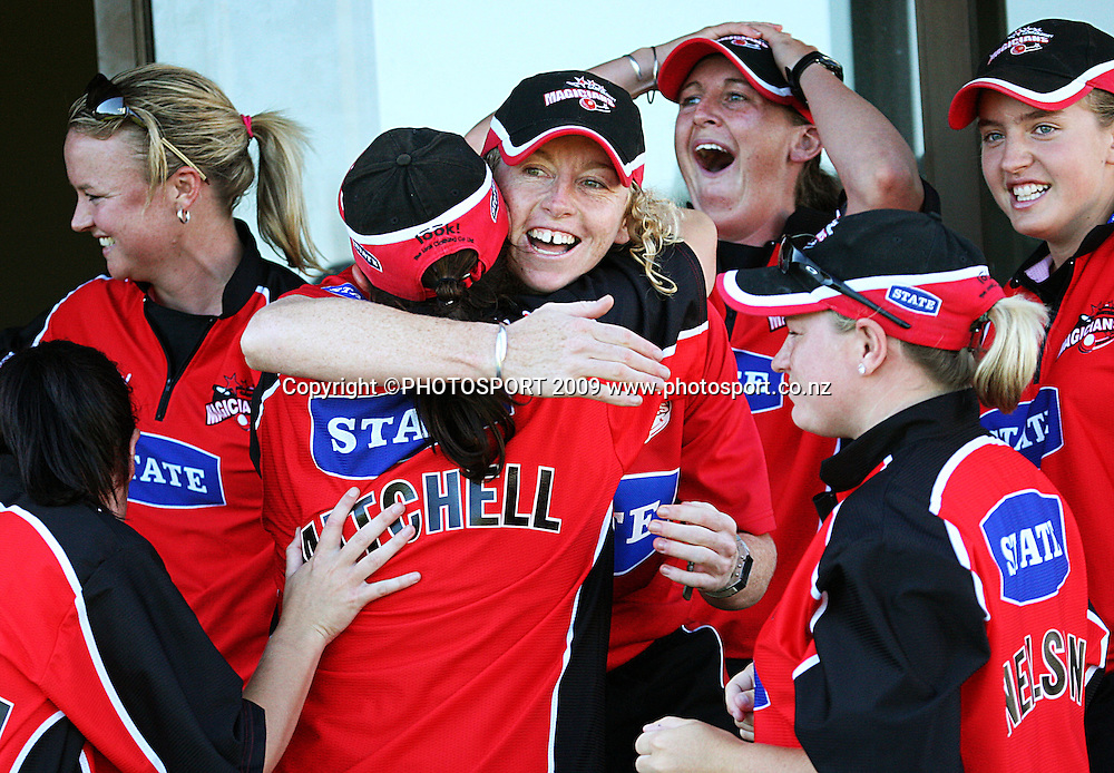 Canterbury captain Haidee Tiffen (centre) celebrates victory with her team.<br /> State League final. Wellington Blaze v Canterbury Magicians at Allied Prime Basin Reserve, Wellington. Saturday, 24 January 2009. Photo: Dave Lintott/PHOTOSPORT
