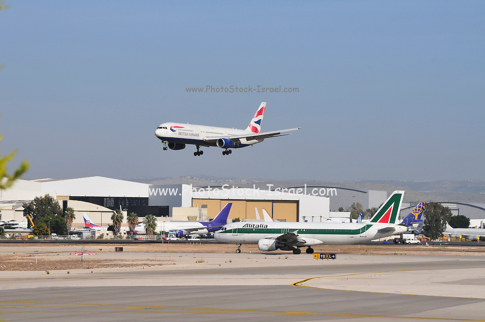 Israel, Ben-Gurion international Airport British Airways Passenger Jet landing