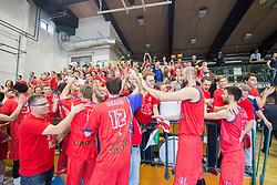 Fans and players of Tajfun celebrating basketball match between KK Rogaska and KK Tajfun in 3rd Round of Final of Slovenian National Basketball Championship 2014/15, on May 26, 2015 in Sportna dvorana, Rogaska Slatina, Slovenia. Photo by Ziga Zupan / Sportida