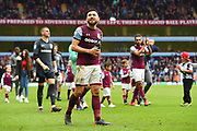 Aston Villa midfielder Robert Snodgrass (7) smiles to the villa supporters during the EFL Sky Bet Championship match between Aston Villa and Derby County at Villa Park, Birmingham, England on 28 April 2018. Picture by Jon Hobley.