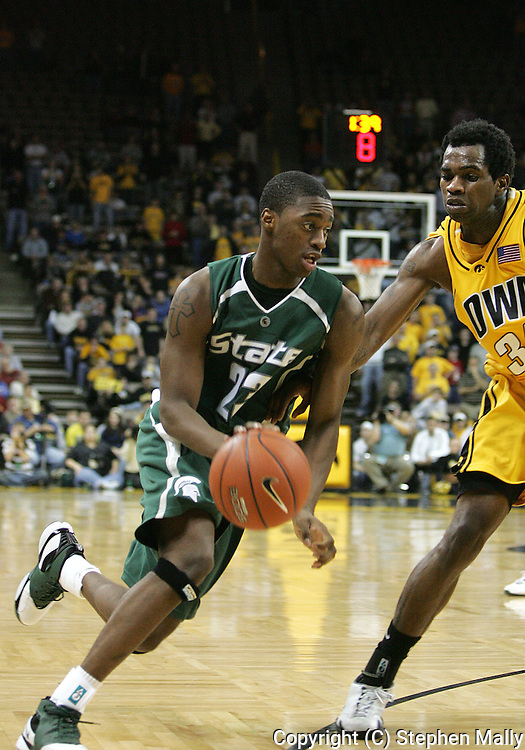 04 JANUARY 2007: Michigan State guard Maurice Joseph (23) drives to the basket in Iowa's 62-60 win over Michigan State at Carver-Hawkeye Arena in Iowa City, Iowa on January 4, 2007.