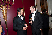 EVGENY LEBEDEV; BERTIE CARVELL, 56th London Evening Standard Theatre Awards. Savoy Hotel. London. 28 November 2010.  -DO NOT ARCHIVE-© Copyright Photograph by Dafydd Jones. 248 Clapham Rd. London SW9 0PZ. Tel 0207 820 0771. www.dafjones.com.