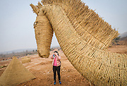 LUOYANG, CHINA - MARCH 16: (CHINA OUT) <br /> <br /> A citizen takes pictures of a straw horse at a construction site on March 16, 2016 in Luoyang, Henan Province of China. Various straw dolls like dinosaurs, ducks, Minions, elephants, pandas and small trains as well we others are made at a construction site which attracted citizens and visitors.<br /> ©Exclusivepix Media