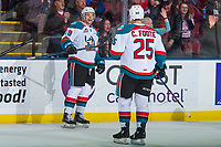 KELOWNA, CANADA - MARCH 3:  Carsen Twarynski #18 celebrates a goal with Cal Foote #25 of the Kelowna Rockets against the Spokane Chiefs on March 3, 2018 at Prospera Place in Kelowna, British Columbia, Canada.  (Photo by Marissa Baecker/Shoot the Breeze)  *** Local Caption ***