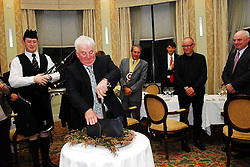 The Salute to the Putog took place in Knockranny House Hotel in Westport on sunday evening, On the occasion of the visit of the Confrerie des Chevaliers di Goute-Boudin (The Black Pudding Fraternity of Lovers of good food ) from Mortagne-au-Perche Normandy visiting Mayo to present a medal to Dominick Kelly's Butchers from Newport who will be inaugurated as the 1st Irish member of the Fraternity...Pic Conor McKeown