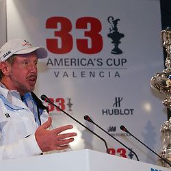 Larry Ellison<br /> Pressconference<br /> BMW Oracle wins the America's Cup<br /> 2010 America's Cup, Valencia<br /> ©2010 Kaufmann/Forster go4image.com