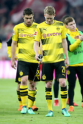 31.03.2018, Allianz Arena, Muenchen, GER, 1. FBL, FC Bayern Muenchen vs Borussia Dortmund, 28. Runde, im Bild Sokratis Papastathopoulos ( Borussia Dortmund #25 ) Andre Schuerrle ( Borussia Dortmund #21 ) nach dem 6:0 frustriert // during the German Bundesliga 28th round match between FC Bayern Munich and Borussia Dortmund at the Allianz Arena in Muenchen, Germany on 2018/03/31. EXPA Pictures © 2018, PhotoCredit: EXPA/ Eibner-Pressefoto/ Harry Langer<br /> <br /> *****ATTENTION - OUT of GER*****