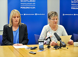 Pictured: Julie Reilly's mother Margaret Hanlon (right) and sister Lynne Bryce read a family statement during the press conference.<br /> <br /> Police held a press conference to appeal for help in tracing missing Glasgow woman Julie Reilly, who went missing on 06 February 2018.<br /> <br /> © Dave Johnston / EEm