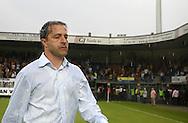 15-05-2008 Voetbal:RKC Waalwijk:ADO Den Haag:Waalwijk<br /> Zeljko Petrovic is in zichzelf gekeerd en zwaar teleurgesteld. De stromende regen was het kenmerkelijke gevoel wat er in Waalwijk heerste na het gelijke spel tegen ADO Den Haag<br /> Foto: Geert van Erven
