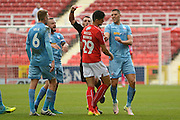 Swindon Town defender Raphael Rossi Branco (29) is shown a red card, sent off 0-1 during the EFL Sky Bet League 1 match between Swindon Town and Bolton Wanderers at the County Ground, Swindon, England on 8 October 2016. Photo by Alan Franklin.