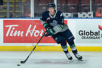 KELOWNA, BC - JANUARY 24: Cade McNelly #3 of the Seattle Thunderbirds warms up with the puck on the ice against the Kelowna Rockets at Prospera Place on January 24, 2020 in Kelowna, Canada. (Photo by Marissa Baecker/Shoot the Breeze)