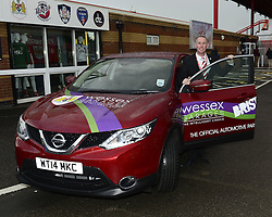 Adam Baker (communications manager) receives keys for a sponsored car from Keith Brock (Managing Director of Wessex Garages) - Photo mandatory by-line: Joe Meredith/JMP - Mobile: 07966 386802 19/08/2014 - SPORT - FOOTBALL - Bristol - Ashton Gate - Bristol City v Leyton Orient - Sky Bet League One
