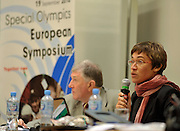 SPECIAL OLYMPICS EUROPEAN SYMPOSIUM..SPECIAL OLYMPICS EUROPEAN SUMMER GAMES - WARSAW 2010..THE IDEA OF SEPCIAL OLYMPICS IS THAT, WITH APPROPRIATE MOTIVATION AND GUIDANCE, EACH PERSON WITH INTELLECTUAL DISABILITIES CAN TRAIN, ENJOY AND BENEFIT FROM PARTICIPATION IN INDIVIDUAL AND TEAM COMPETITIONS...WARSAW , POLAND , SEPTEMBER 19, 2010..MANDATORY CREDIT:.PHOTO BY ADAM NURKIEWICZ / MEDIASPORT