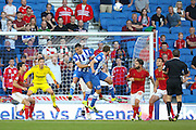 Tomer Hemed of Brighton & Hove Albion jumps for the ball during the Sky Bet Championship match between Brighton and Hove Albion and Nottingham Forest at The American Express Community Stadium, Brighton and Hove, England on 7 August 2015. Photo by Phil Duncan.