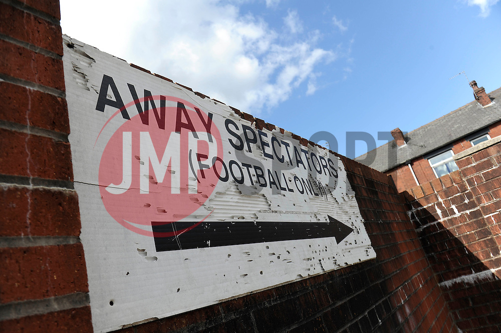 Away Supporters sign at Rochdale, Spotland Stand - Photo mandatory by-line: Dougie Allward/JMP - Mobile: 07966 386802 23/08/2014 - SPORT - FOOTBALL - Manchester - Spotland Stadium - Rochdale AFC v Bristol City - Sky Bet League One