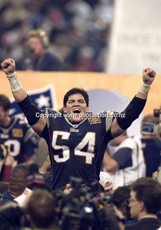 1 Feb 2004:    Tedy Bruschi of the New England Patriots celebrates after the Pats 32-29 victory over the Carolina Panthers in Super Bowl XXXVIII at Reliant Stadium in Houston, TX.<br /> Mandatory Credit:  Dilip Vishwanat/Sporting News/Icon SMI