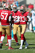 San Francisco 49ers cornerback Rashard Robinson (33) is congratulated by San Francisco 49ers outside linebacker Eli Harold (57) after stripping the ball and causing a fumble at the Carolina Panthers 31 yard line in the fourth quarter during the 2017 NFL week 1 regular season football game against the Carolina Panthers, Sunday, Sept. 10, 2017 in Santa Clara, Calif. The Panthers won the game 23-3. (©Paul Anthony Spinelli)