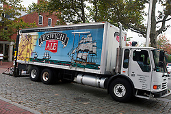 Ipswich Ale beer delivery truck parked on cobblestone street, Salem, Massachusetts, United States of America