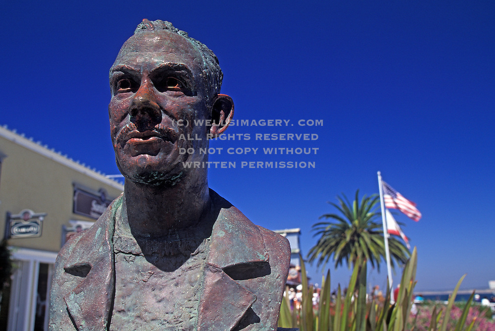 Image of the John Steinbeck statue at Cannery Row in Monterey, California, America west