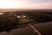 An aerial view of Angkor Wat at sunrise.