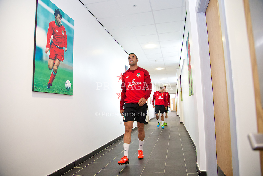 NEWPORT, WALES - Monday, August 12, 2013: Wales' Hal Robson-Kanu training at the FAW National Development Centre at Dragon Park ahead of the International friendly against the Republic of Ireland. (Pic by David Rawcliffe/Propaganda)