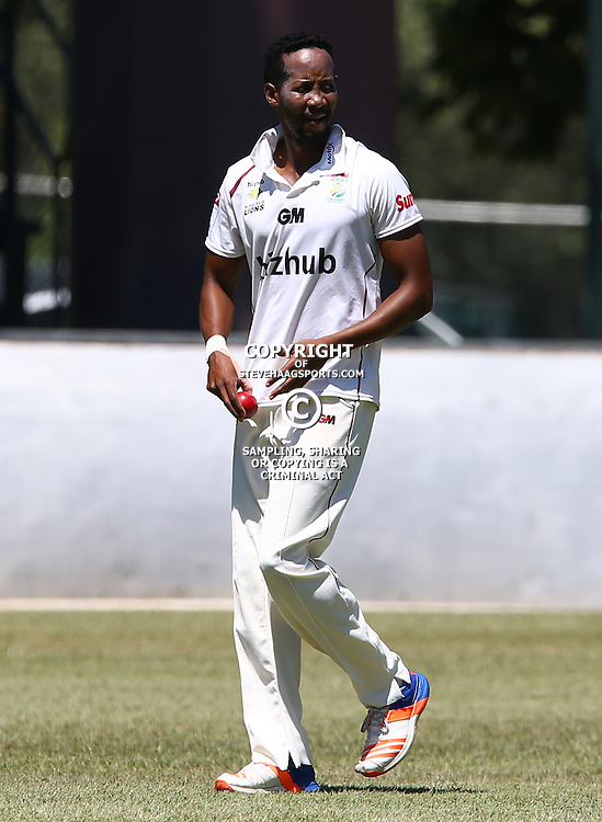 Aya Myoli of the bizhub Highveld Lions during Day 1 of the Sunfoil Series match between Hollywoodbets Dolphins and the bizhub Highveld Lions at the City Oval, Pietermaritzburg,South Africa. 19th January 2017  - (Photo by Steve Haag)