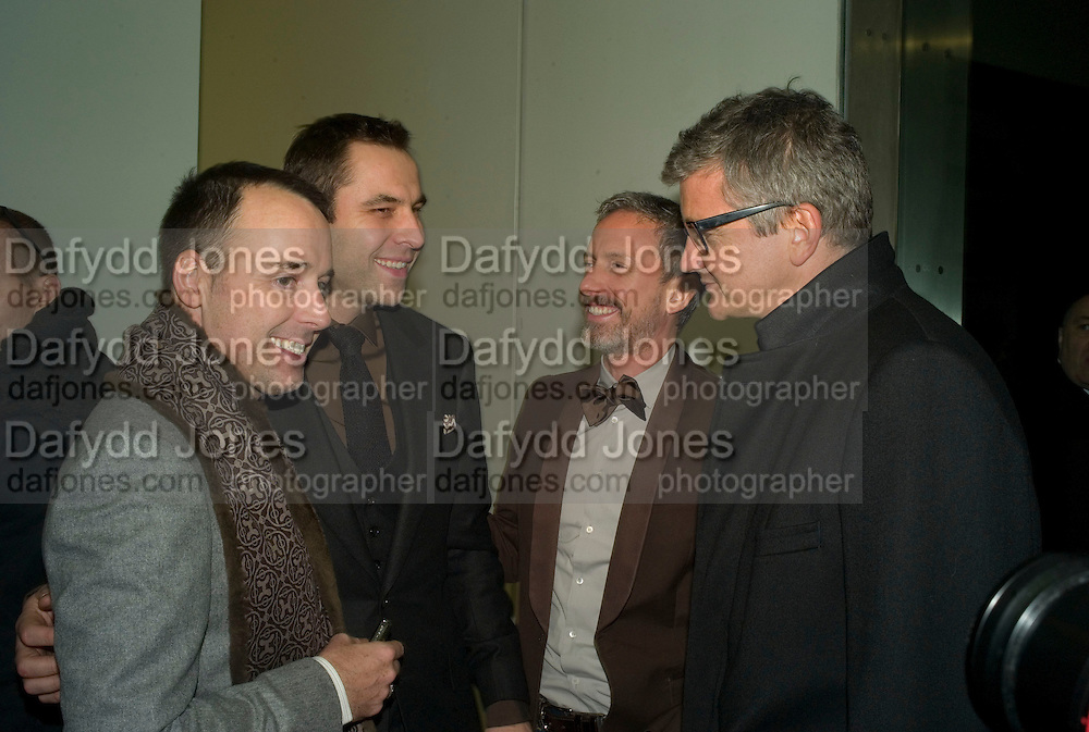 DAVID FURNISH, DAVID WALLIAMS, PATRICK COX AND JAY JOPLING , 'Evolution', an exhibition of work by Marc Quinn. White Cube. Masoin's Yard. London. 24 January 2008. -DO NOT ARCHIVE-© Copyright Photograph by Dafydd Jones. 248 Clapham Rd. London SW9 0PZ. Tel 0207 820 0771. www.dafjones.com.