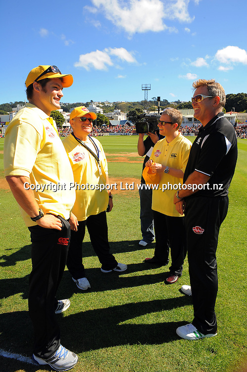 Umpires, from left, Richie McCaw, Mark Hadlow and Martin Freeman with Wellington XI captain Martin Crowe. Fill The Basin for Christchurch fundraising cricket match - Canterbury Invitational XI v Wellington Legends XI  at Hawkins Basin Reserve, Wellington, New Zealand on Sunday, 13 March 2011. Photo: Dave Lintott / lintottphoto.co.nz
