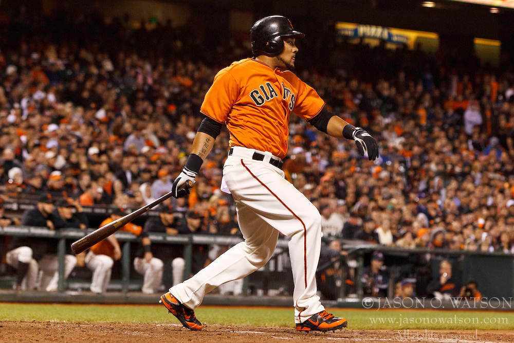 SAN FRANCISCO, CA - JULY 27: Melky Cabrera #53 of the San Francisco Giants at bat against the Los Angeles Dodgers during the tenth inning at AT&T Park on July 27, 2012 in San Francisco, California. The Los Angeles Dodgers defeated the San Francisco Giants 5-3 in 10 innings. (Photo by Jason O. Watson/Getty Images) *** Local Caption *** Melky Cabrera