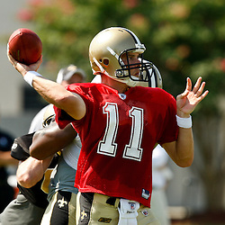 July 31, 2010; Metairie, LA, USA; New Orleans Saints quarterback Patrick Ramsey (11) throws a pass during a training camp practice at the New Orleans Saints practice facility. Mandatory Credit: Derick E. Hingle
