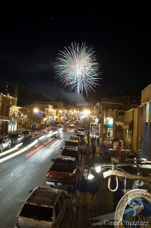 fireworks over Historic Main Street, Park City Utah USA