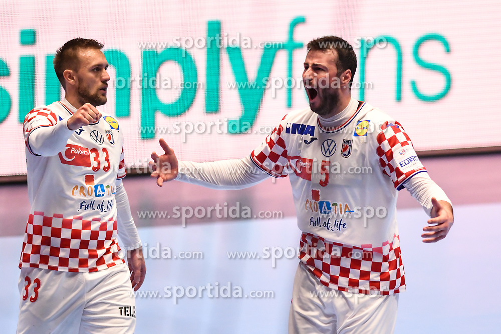 Luka Cindric and Domagoj Duvnjak of Croatia during the handball match between National teams of Serbia and Croatia in Group A of Men's EHF EURO 2020 on January 13, 2020 in Stadhalle Graz, Graz, Austria