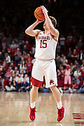 FAYETTEVILLE, AR - MARCH 9:  Jonathan Holmes #15 of the Arkansas Razorbacks shots a three pointer during a game against the Alabama Crimson Tide at Bud Walton Arena on March 9, 2019 in Fayetteville, Arkansas.  The Razorbacks defeated the Crimson Tide 82-70.  (Photo by Wesley Hitt/Getty Images) *** Local Caption *** Jonathan Holmes