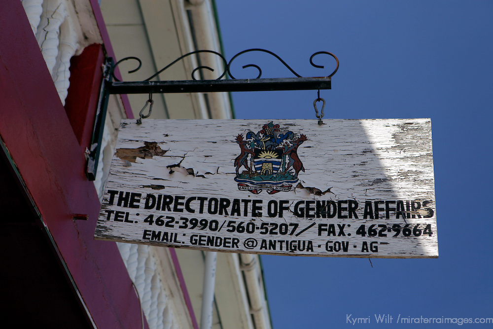 Americas, Caribbean, Antigua and Barbuda. Sign for the office of Gender Affairs in St. John's, Antigua.