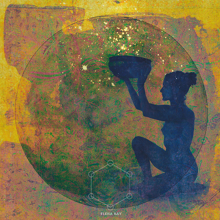 Silhouette of Woman holding the vessel of cosmic creativity.<br />