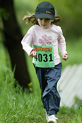 "(Kingston, Ontario---16/05/09) ""Anna Walsh running in the kids race at the 2009 Salomon 5 Peaks Trail Running series Race held in Kingston, Ontario as part of the Eastern Ontario/Quebec division. ""  Copyright photograph Sean Burges / Mundo Sport Images, 2009. www.mundosportimages.com / www.msievents.com."