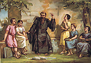Saint Benedict of Nursia (480-547) Italian founder of Western  Christian monasticism. Instituted Benedictine order (Black Friars). Benedict teaching children.  Religion Nineteenth century Trade Card Chromolithograph