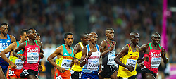London, 2017-August-04. Mo Farah pushes to the front of the pack during the Men's 10,000m final at the IAAF World Championships London 2017. © Paul Davey.