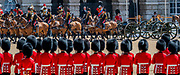 Kings Troop Royal Horse Artillery march past in slow and quick time and Prince Andrew salutes the guns - The parade on Horse Guards - His Royal Highness the Duke of York reviews the final rehearsal for the Trooping the Colour on Horseguards Parade and the Mall.